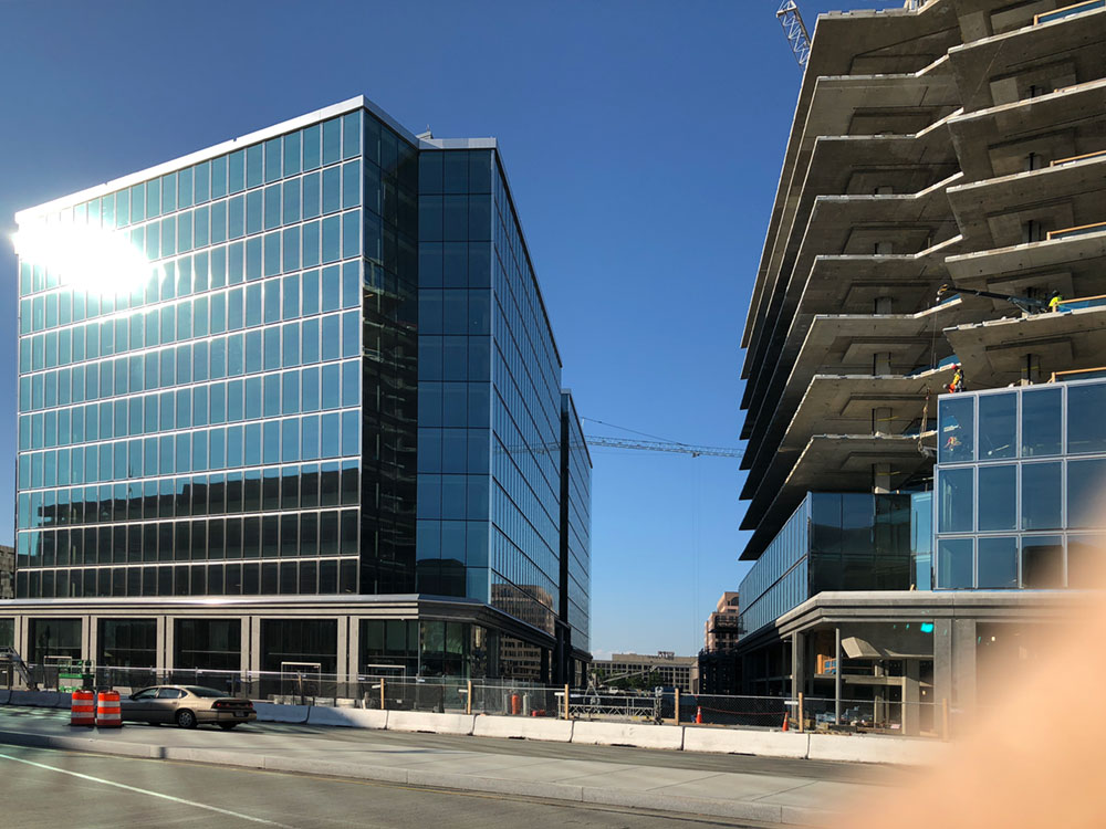 250 Mass Ave is catching up with the fully enclosed 200 East Building at Capitol Crossing. Construction completion is set for 2020.